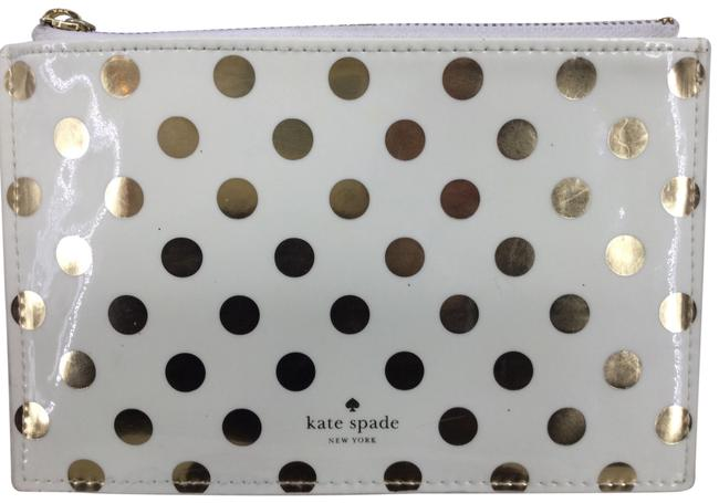 Item - White /Gold Pouch Cosmetic Bag