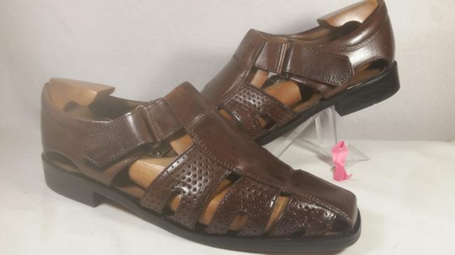 Item - Brown Leather Men's Fisherman Comfort Strap Sandal 9.5m Shoes