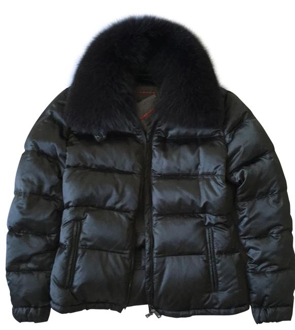 Item - Forest Green Fox Fur Trim Down Puffer Jacket Activewear Size 8 (M)