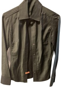 Banana Republic Striped Button Down Shirt Olive green & black