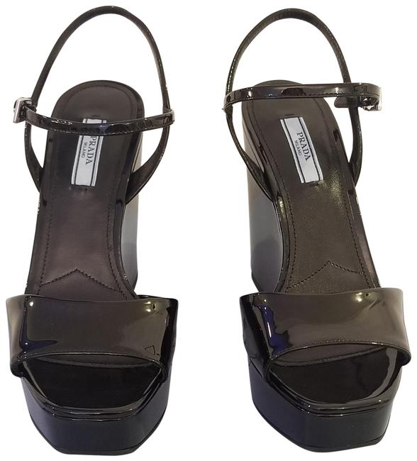 Item - Black Patent Leather Sandals Wedges Size EU 38 (Approx. US 8) Regular (M, B)