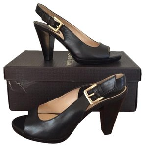 Cole Haan Black W Gold Buckle Pumps