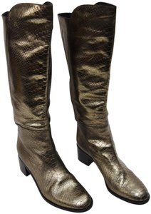 Hollywould Snake Leather Knee High Silver Boots