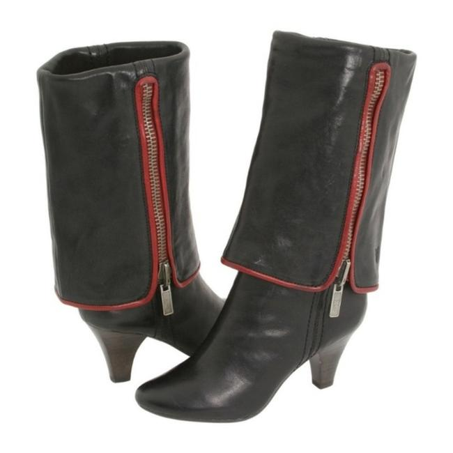 Item - Black Red Dannika 2 In 1 Fold Down Over The Knee Mid Calf Leather Cuffed Boots/Booties Size US 5.5 Regular (M, B)