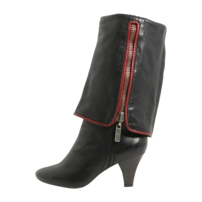 Frye Black Red Dannika 2 In 1 Fold Down Over The Knee Mid Calf Leather Cuffed Boots/Booties Size US 5.5 Regular (M, B) Frye Black Red Dannika 2 In 1 Fold Down Over The Knee Mid Calf Leather Cuffed Boots/Booties Size US 5.5 Regular (M, B) Image 5