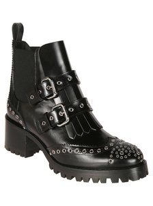 RED Valentino Patent Round Toe Studded Heel Buckled Black Pumps