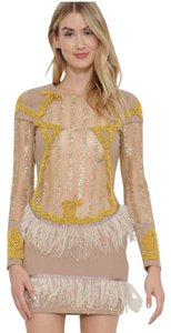 L'ATISTE Feather Beaded Long Sleeve Party Sparkle Dress