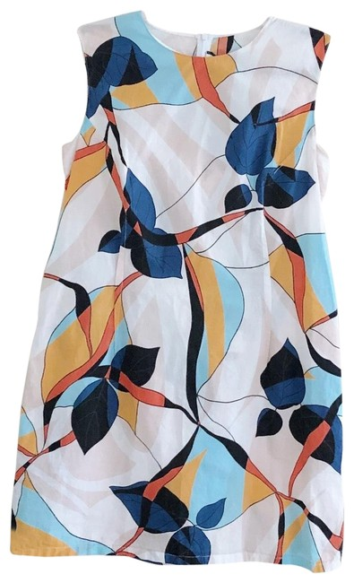 Item - White Pink Blue Orange Abstract Floral Print Mod Shift Short Casual Dress Size 8 (M)
