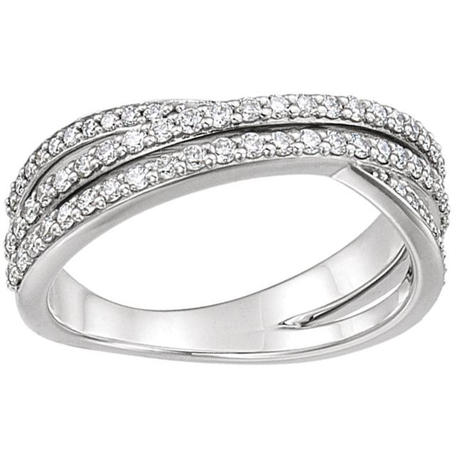 Item - White 1.62 Ct Ladies Round Criss Cross Women's Wedding Band