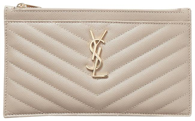 Item - Beige Clutch Zip Pouch Quilted Leather Card Case Wallet