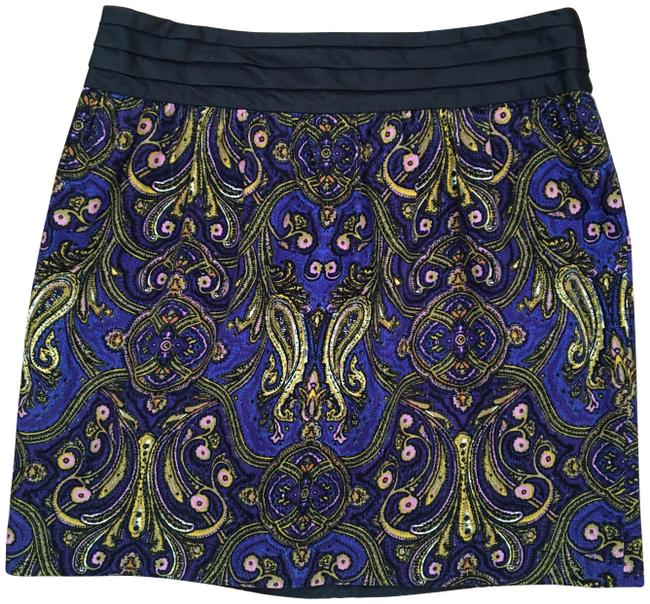 Item - Blue Black Gold Corduroy Baroque Pattern Skirt Size 12 (L, 32, 33)