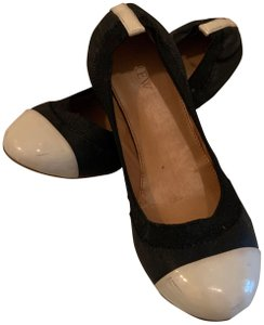 J.Crew Leather Cap Toe Round Toe Slip On black/cream Flats