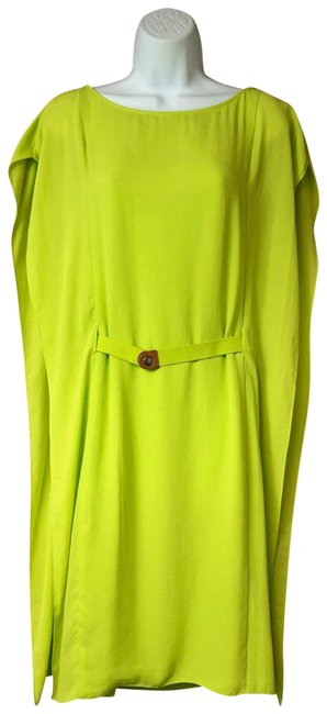 Item - Neon Green Sleeveless Poly Shift 42 Mid-length Short Casual Dress Size 8 (M)