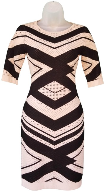 Item - Cream and Black Stripe Bodycon Short Night Out Dress Size 2 (XS)