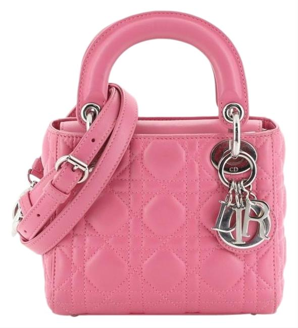 Item - Lady Cannage Quilt Lambskin Mini Pink Leather Cross Body Bag