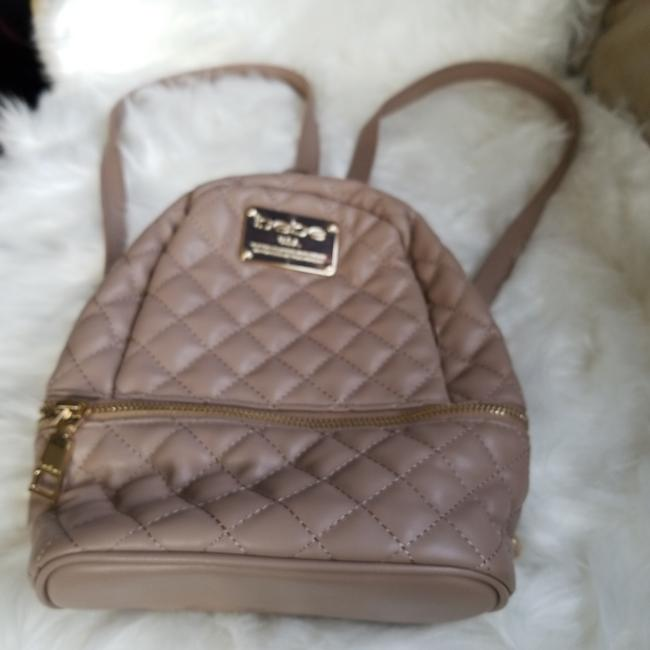 Item - Quilted Mini From Taupe Polyurethane Backpack