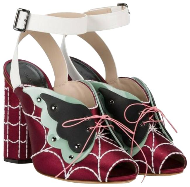 Item - Butterfly Web Red Satin Ankle Strap Sandals Formal Shoes Size US 8 Regular (M, B)