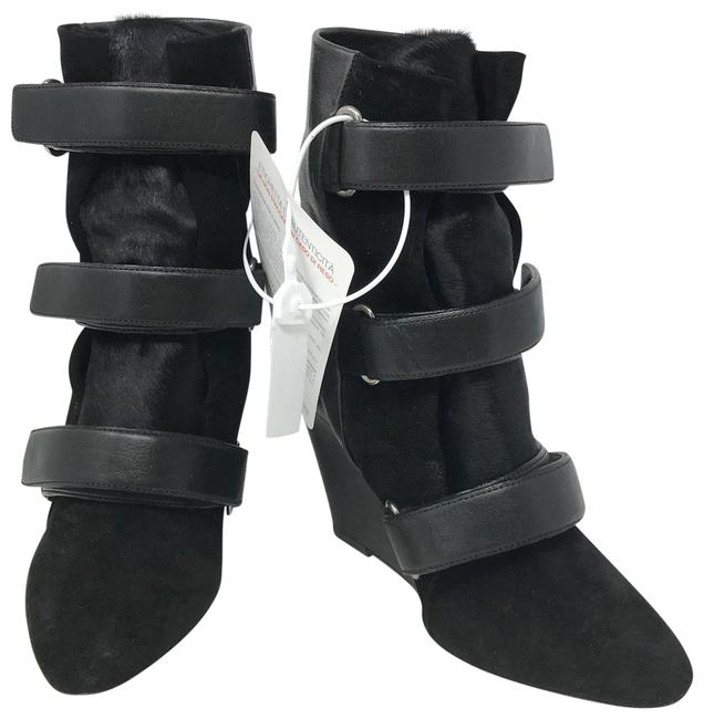 Item - Black Suede and Pony Hair Scarlet Wedge Boots/Booties Size EU 38 (Approx. US 8) Regular (M, B)