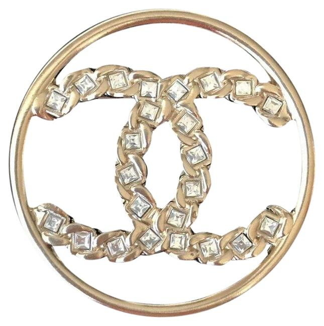 Item - Gold 2019p Golden Tone Cc Logo White Crystals Round Brooch Pin Charm