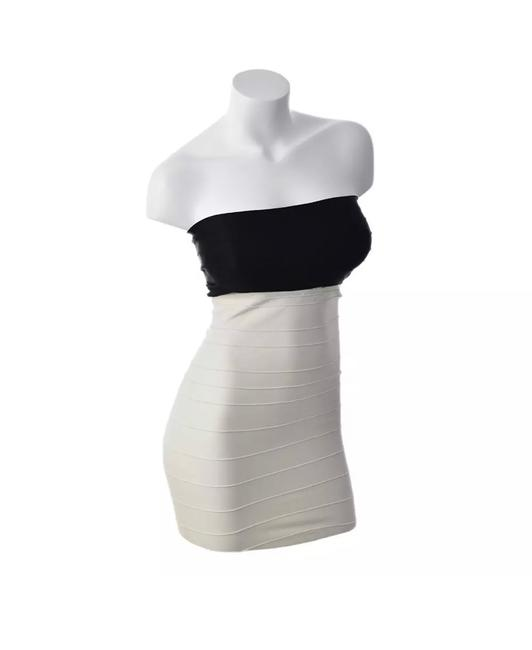 Item - Black/Cream L Stretch Ribbed Cocktail M/L Short Night Out Dress Size 12 (L)