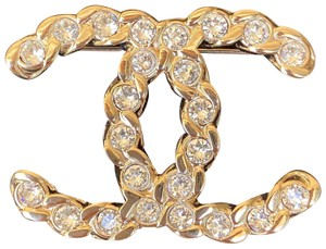 Chanel CHANEL 2019P GOLD GOLDEN TONE CC LOGO WHITE CRYSTALS BROOCH PIN CHARM