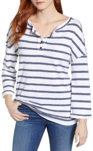 Caslon Striped Jersey Stretchy Oversized Top Blue and White