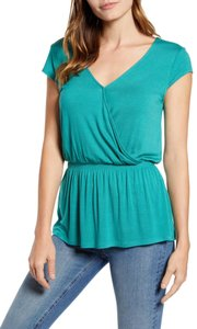 Gibson Monochrome V-neck Jersey Elastic Stretchy Top Green