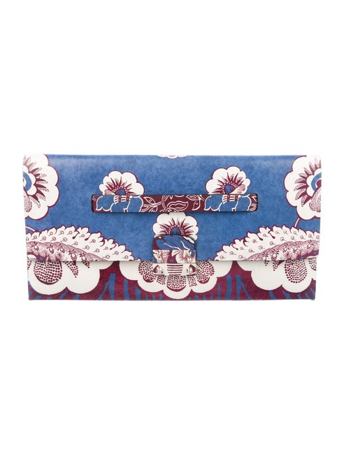 Item - Rare Spring 2015 Floral Blue Burgundy Cream Leather Clutch