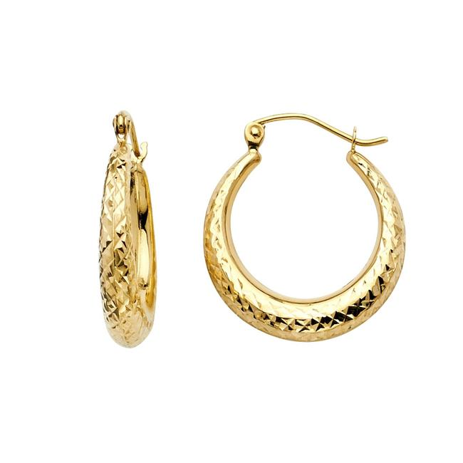 Top Gold & Diamond Jewelry Yellow 14k Cut Hoop For Women Diameter - 15 Earrings Top Gold & Diamond Jewelry Yellow 14k Cut Hoop For Women Diameter - 15 Earrings Image 1