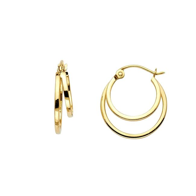 Top Gold & Diamond Jewelry Yellow 14k 4mm Double Hoop For Women Earrings Top Gold & Diamond Jewelry Yellow 14k 4mm Double Hoop For Women Earrings Image 1