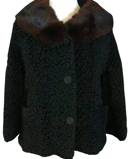 Item - Black 1960's Mink Collar Coat Size 6 (S)