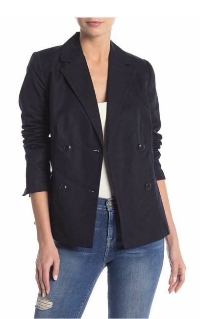 Item - Navy Blue Solid Front Button Blazer Size 4 (S)