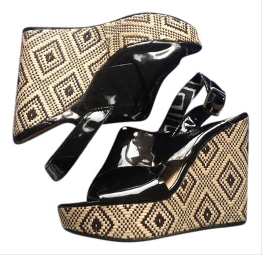 BCBGMAXAZRIA Patent Leather Tribal Woven Leather Bcbg Strappy Open Toe Black Wedges