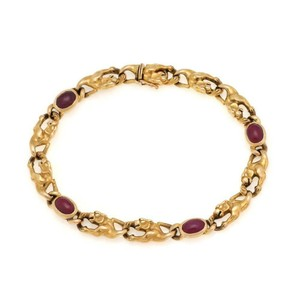 """Carrera y Carrera Cabochon 3.30ct Ruby 3D Panther Link Bracelet 7.5"""" Long"""