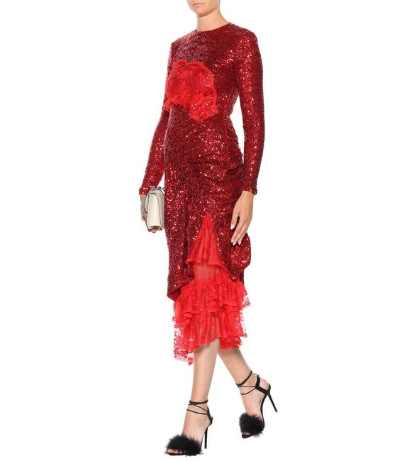 Item - Red Dark Red S Mae Lace Sequined Long Night Out Dress Size 6 (S)