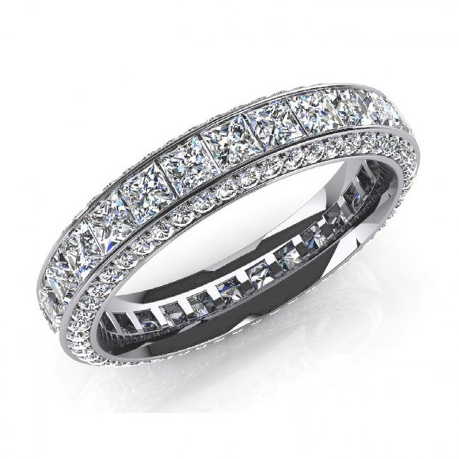 Item - White 4.00 Ct. Ladies Princess Eternity Ring Women's Wedding Band