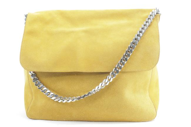 Item - Gourmette Chain Flap 8ck0114 Yellow Suede Leather Shoulder Bag