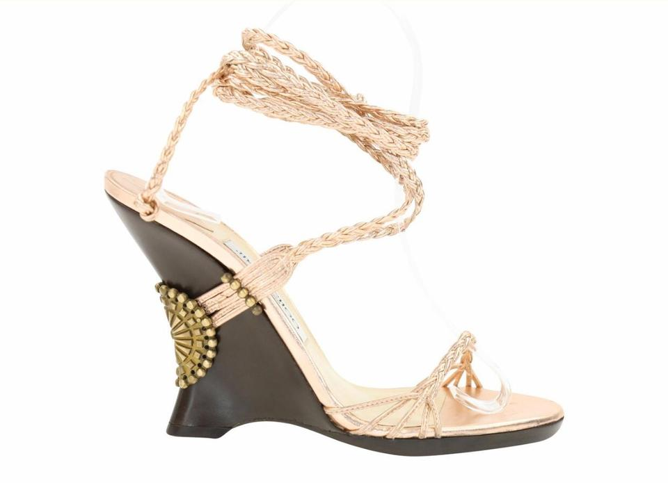 thoughts on cheap price wide varieties Jimmy Choo Rose Gold Braided Sz7.5 Wedges Size US 7.5 Regular (M ...