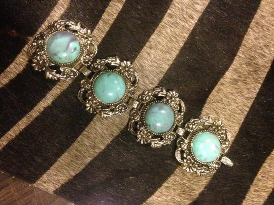 Other Chunky Vintage Turquoise Silver Tone Bracelet