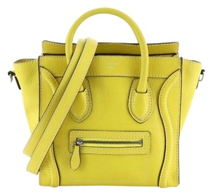 Céline Grainy Leather Tote in Yellow