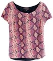 PJK Patterson J. Kincaid Leather Snake Print Top Pink, Gray