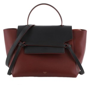 Céline Leather Tote in Black, Red