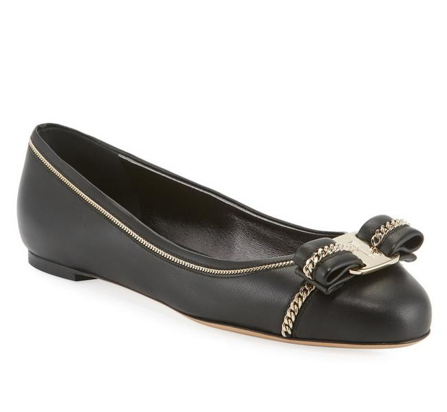Item - Black with Gold Chains Varina Vara Lux 1 Bow Leather Flats Size US 7 Regular (M, B)