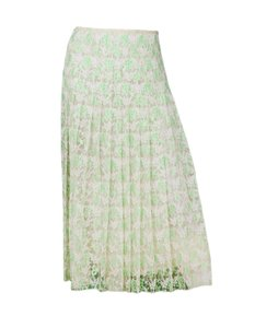 Christopher Kane Lace Floral Skirt Green, White