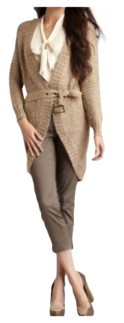Item - Camel Open Front Belted Sweater Cardigan Size 16 (XL, Plus 0x)