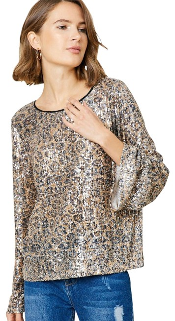 Item - Leopard Sequin Bell Sleeve Tan and Black Top