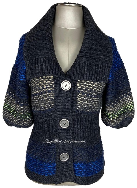 Item - Gray Blue Oatmeal Green Chunky Knit Short Sleeve Big Button Cardigan Size 8 (M)