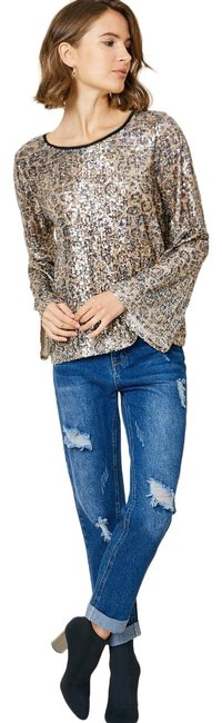 Item - Black and Tan Leopard Sequin Bell Sleeve Blouse Size 12 (L)