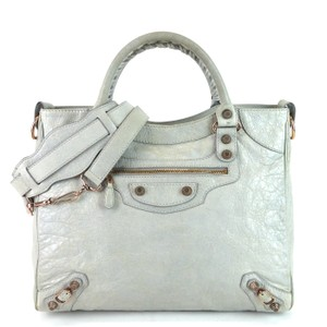 Balenciaga Leather Agneau City Motorcycle Tote in Blue/Gray