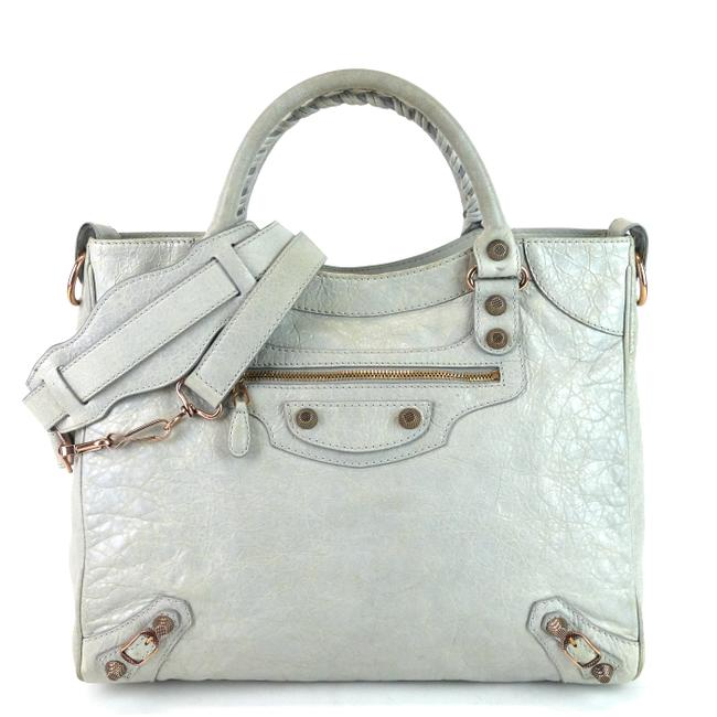 Item - Velo Giant Studs Blue/Gray Leather Tote